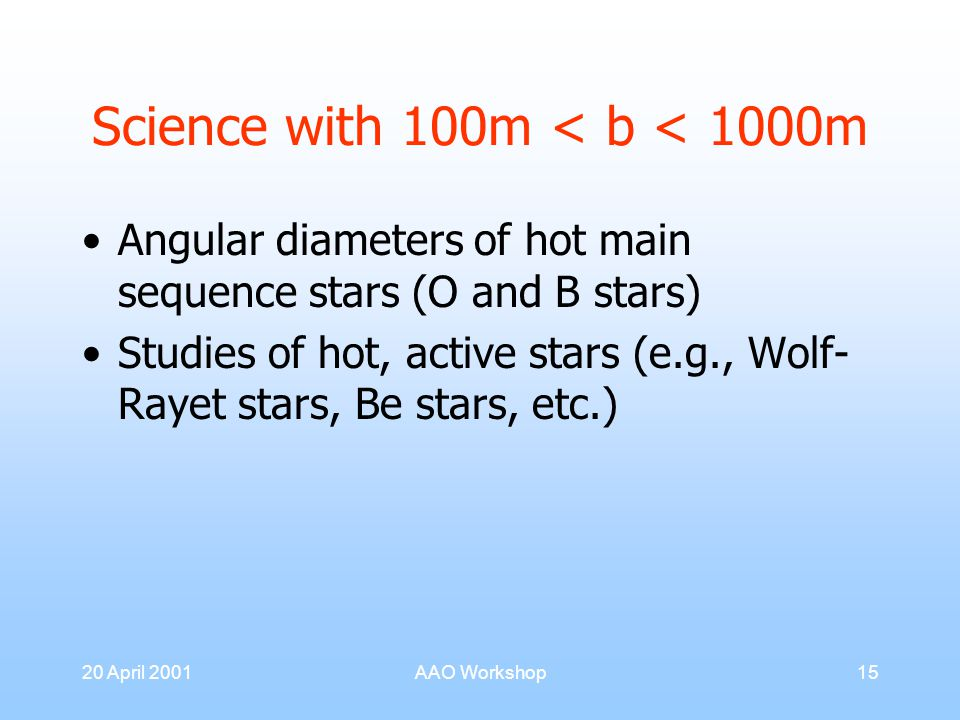 20 April 2001AAO Workshop15 Science with 100m < b < 1000m Angular diameters of hot main sequence stars (O and B stars) Studies of hot, active stars (e.g., Wolf- Rayet stars, Be stars, etc.)