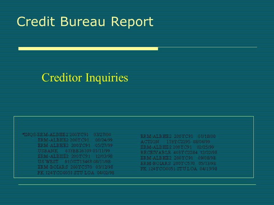 Credit Bureau Report Public Records