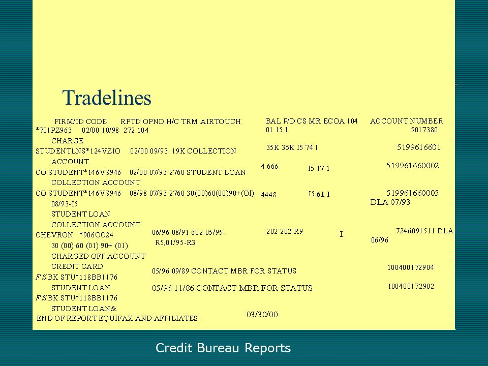Credit Bureau Report Creditor Inquiries