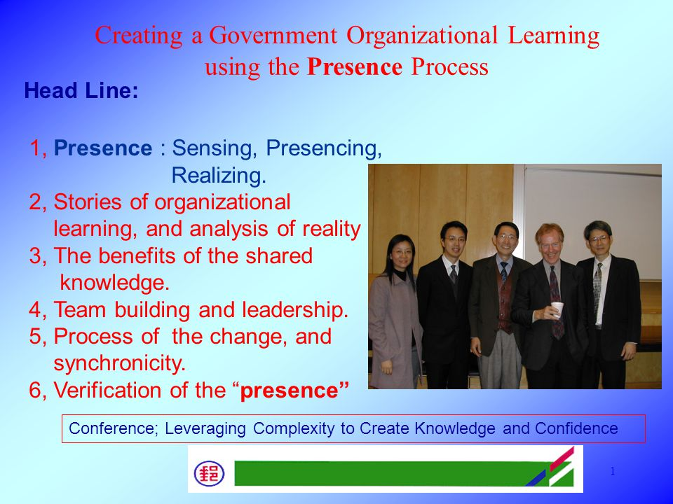 Presentation on Presence Case Study in Vienna SOL 2005 11 Personal Mastery Wisdom Principle Praxis System Thinking mental Model Shared Vision Team Learning Five Disciplines How to develop the O.L.