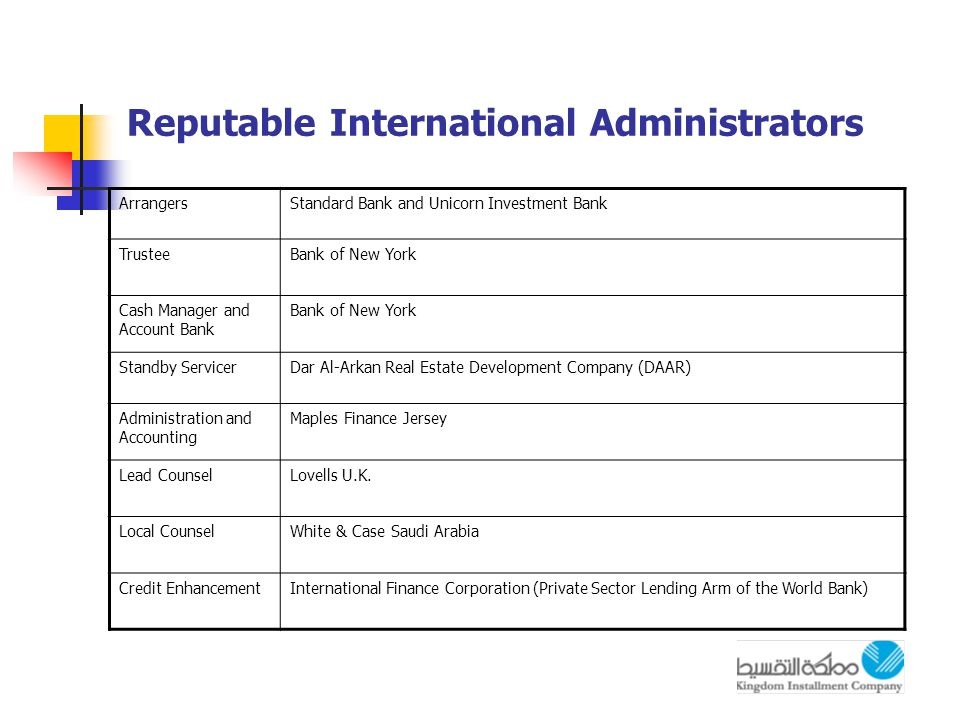 Reputable International Administrators ArrangersStandard Bank and Unicorn Investment Bank TrusteeBank of New York Cash Manager and Account Bank Bank of New York Standby ServicerDar Al-Arkan Real Estate Development Company (DAAR) Administration and Accounting Maples Finance Jersey Lead CounselLovells U.K.