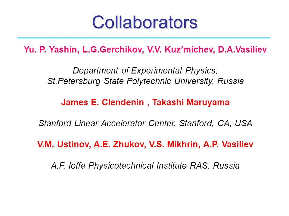 Collaborators Yu. P. Yashin, L.G.Gerchikov, V.V. Kuz'michev, D.A.Vasiliev Department of Experimental Physics, St.Petersburg State Polytechnic Universi