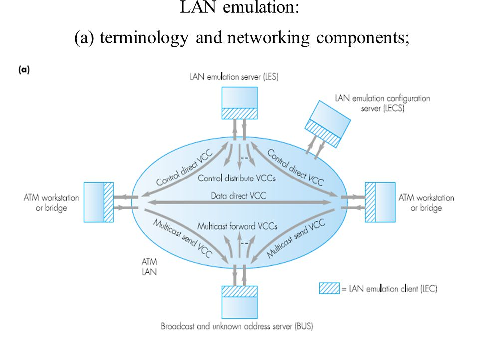 LAN emulation: (a) terminology and networking components;