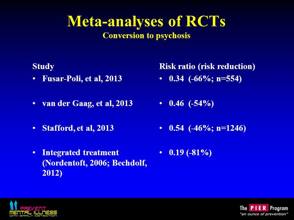 Meta-analyses of RCTs Conversion to psychosis Study Fusar-Poli, et al, 2013 van der Gaag, et al, 2013 Stafford, et al, 2013 Integrated treatment (Nord
