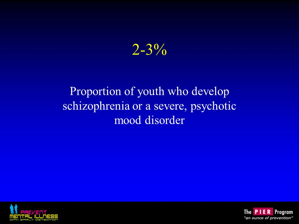 2-3% Proportion of youth who develop schizophrenia or a severe, psychotic mood disorder