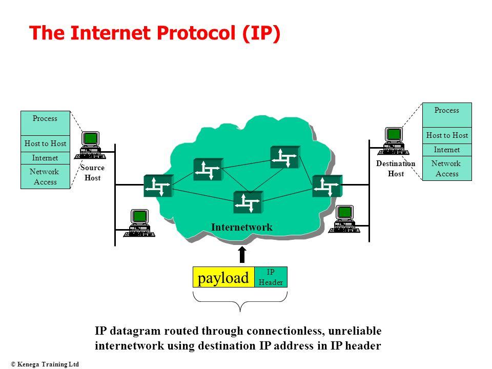 © Kenega Training Ltd The Internet Protocol (IP) Source Host Host to Host Internet Process Network Access Destination Host Host to Host Internet Proce