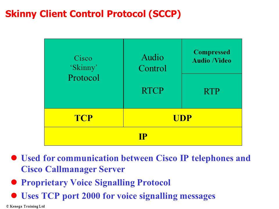 © Kenega Training Ltd IP TCPUDP RTP Compressed Audio /Video Audio Control RTCP Cisco 'Skinny' Protocol Skinny Client Control Protocol (SCCP) Used for