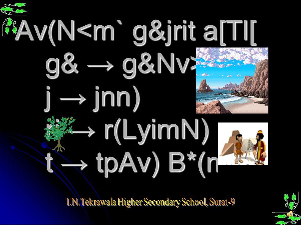 AvµC g&jrit, AvAY g&jrit, Av(N<m g&jrit