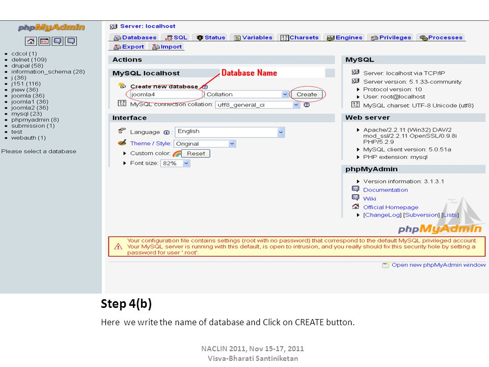 Step 4(b) Here we write the name of database and Click on CREATE button.