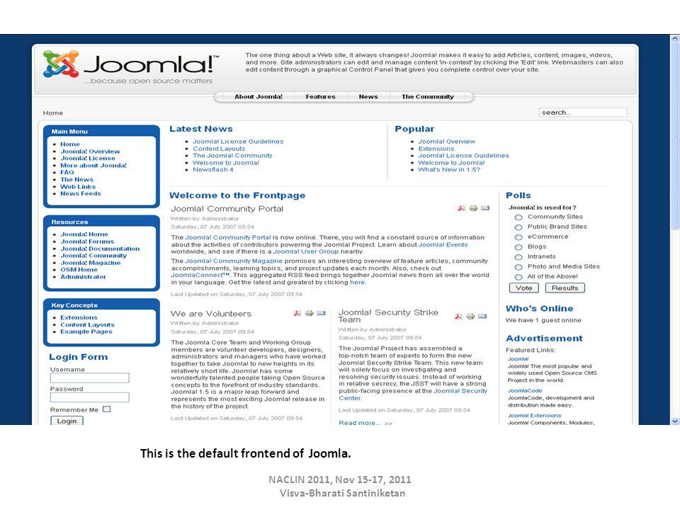 This is the default frontend of Joomla. NACLIN 2011, Nov 15-17, 2011 Visva-Bharati Santiniketan