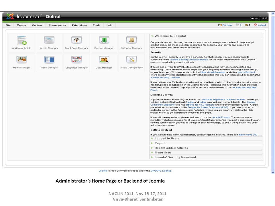 Administrator's Home Page or Backend of Joomla NACLIN 2011, Nov 15-17, 2011 Visva-Bharati Santiniketan