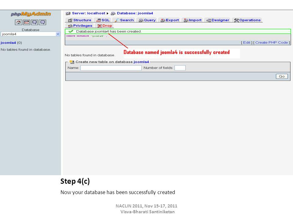 Step 4(c) Now your database has been successfully created NACLIN 2011, Nov 15-17, 2011 Visva-Bharati Santiniketan