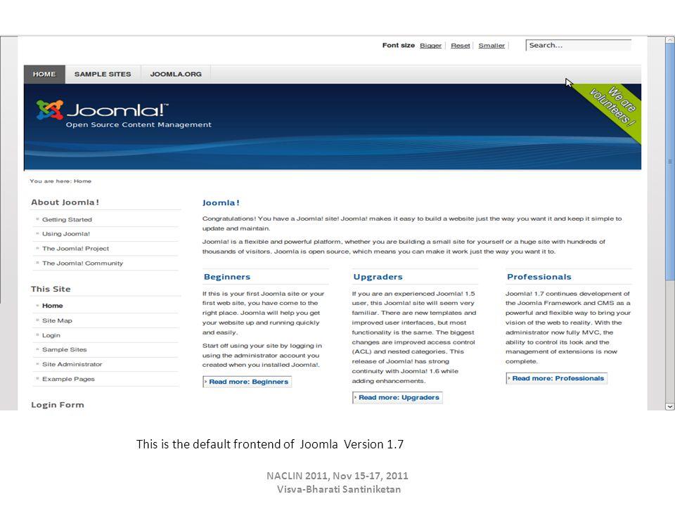 This is the default frontend of Joomla Version 1.7 NACLIN 2011, Nov 15-17, 2011 Visva-Bharati Santiniketan