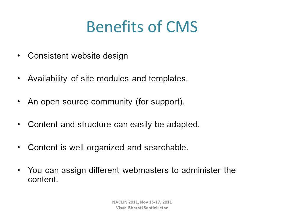 Administrator's Home Page or Backend of Joomla Version 1.7 NACLIN 2011, Nov 15-17, 2011 Visva-Bharati Santiniketan
