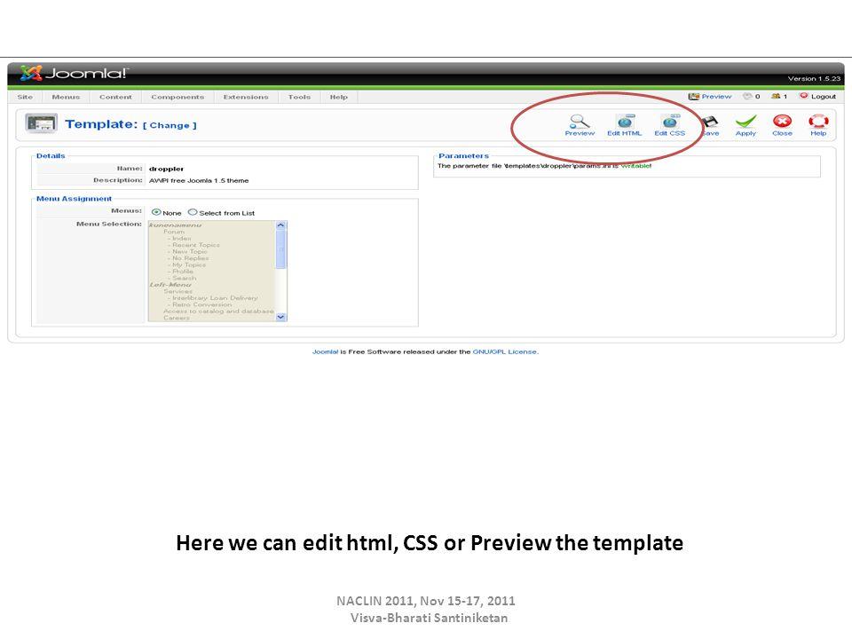 Here we can edit html, CSS or Preview the template NACLIN 2011, Nov 15-17, 2011 Visva-Bharati Santiniketan