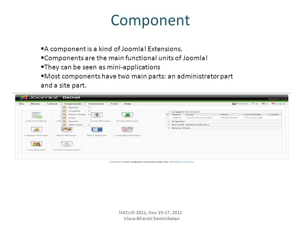Component NACLIN 2011, Nov 15-17, 2011 Visva-Bharati Santiniketan  A component is a kind of Joomla.
