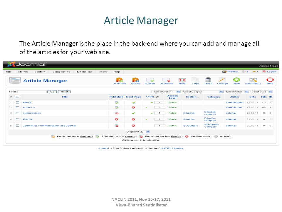 Article Manager NACLIN 2011, Nov 15-17, 2011 Visva-Bharati Santiniketan The Article Manager is the place in the back-end where you can add and manage all of the articles for your web site.