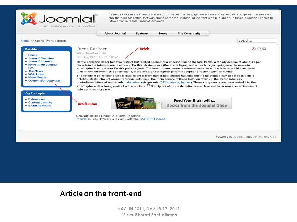 Article on the front-end NACLIN 2011, Nov 15-17, 2011 Visva-Bharati Santiniketan