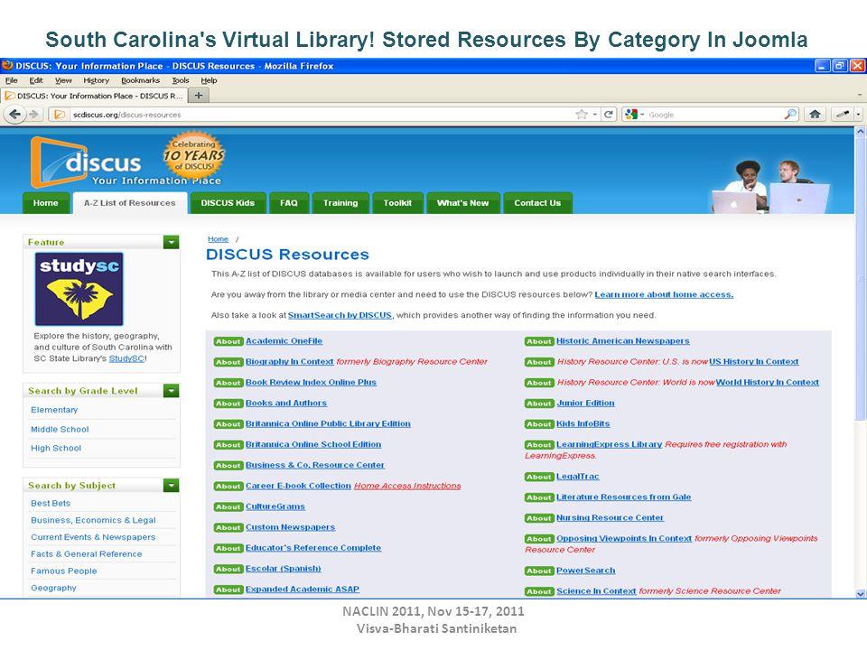 NACLIN 2011, Nov 15-17, 2011 Visva-Bharati Santiniketan South Carolina s Virtual Library.