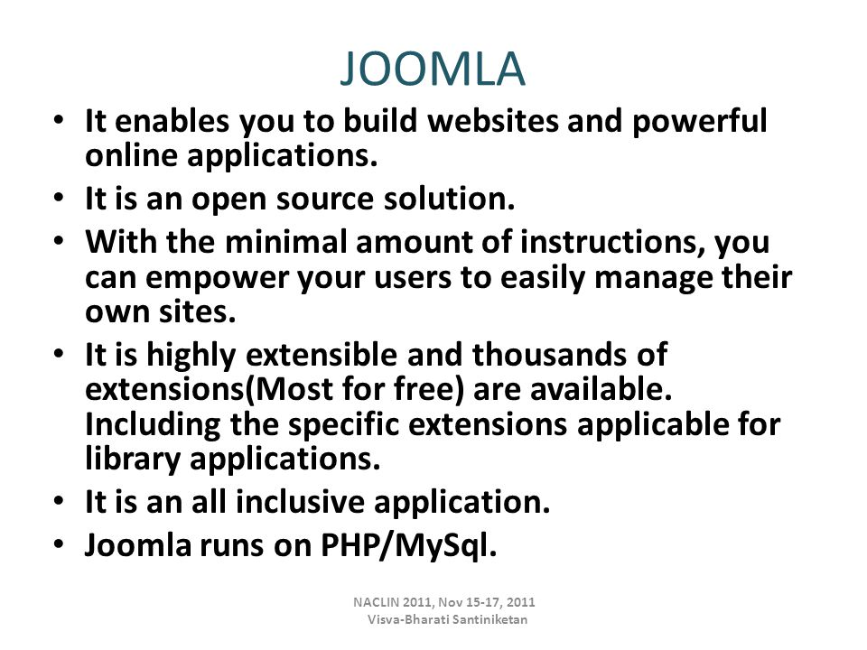 Joomla Extensions Extensions are add-ons that expand the functionality of Joomla!.