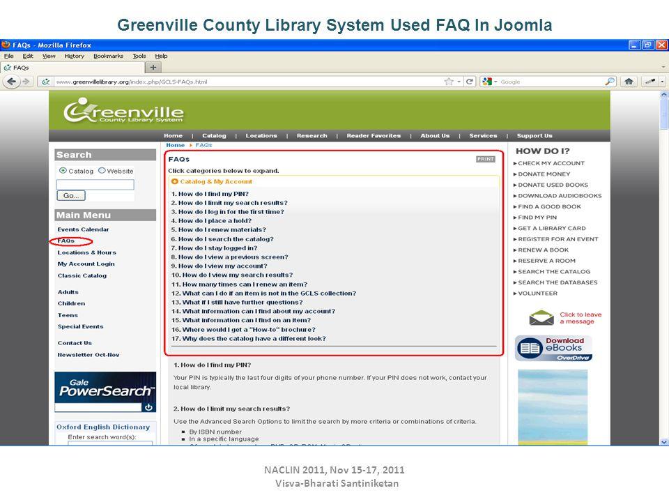 NACLIN 2011, Nov 15-17, 2011 Visva-Bharati Santiniketan Greenville County Library System Used FAQ In Joomla