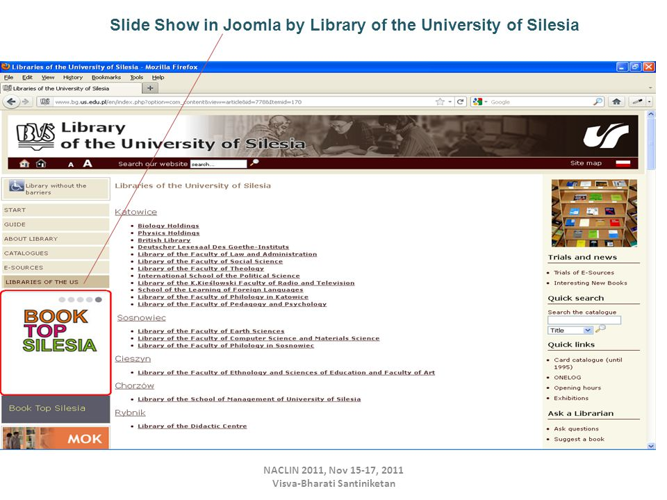 NACLIN 2011, Nov 15-17, 2011 Visva-Bharati Santiniketan Slide Show in Joomla by Library of the University of Silesia