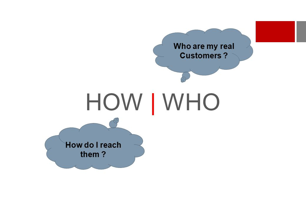 HOW | WHO How do I reach them ? Who are my real Customers ?