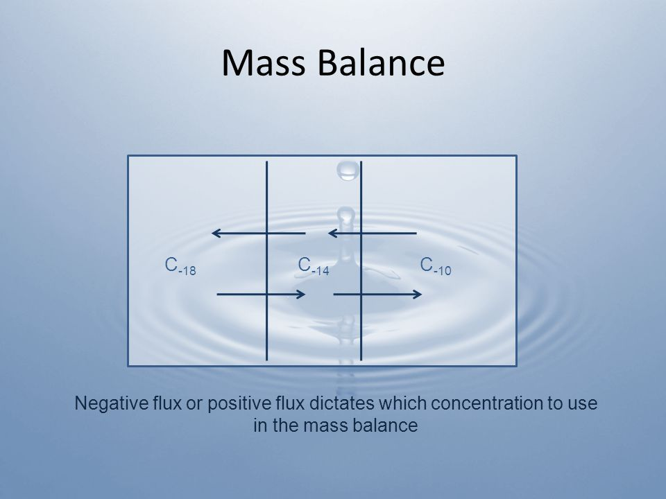 Mass Balance C -18 C -14 C -10 Negative flux or positive flux dictates which concentration to use in the mass balance