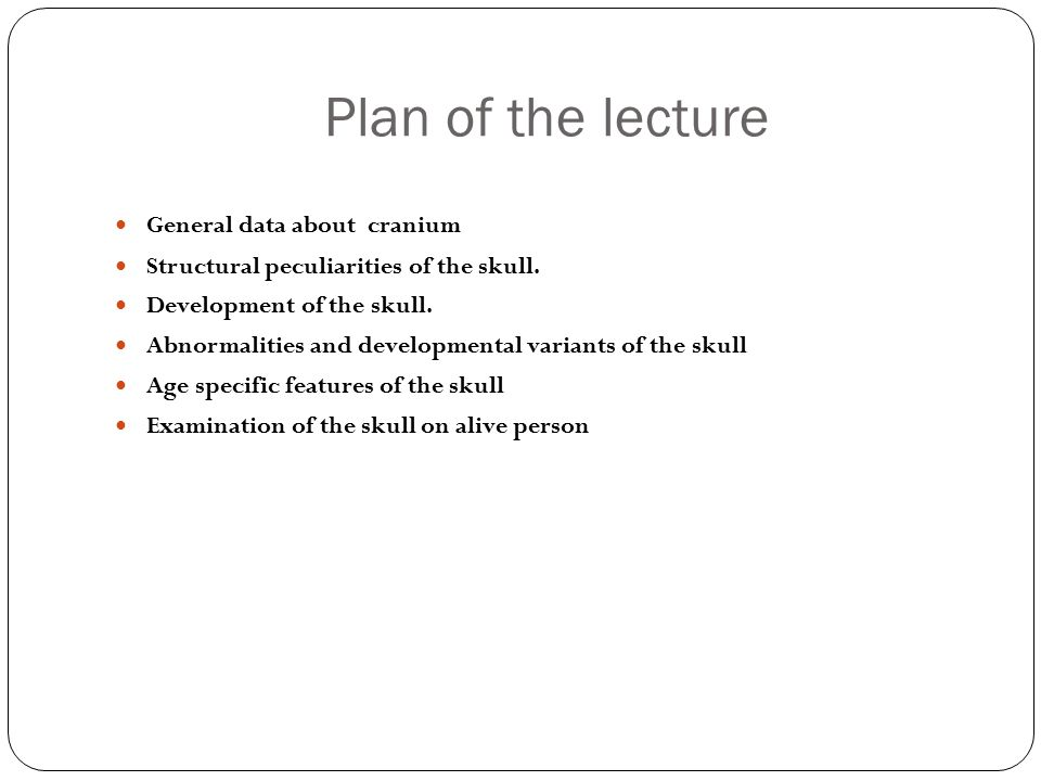 Plan of the lecture General data about cranium Structural peculiarities of the skull.