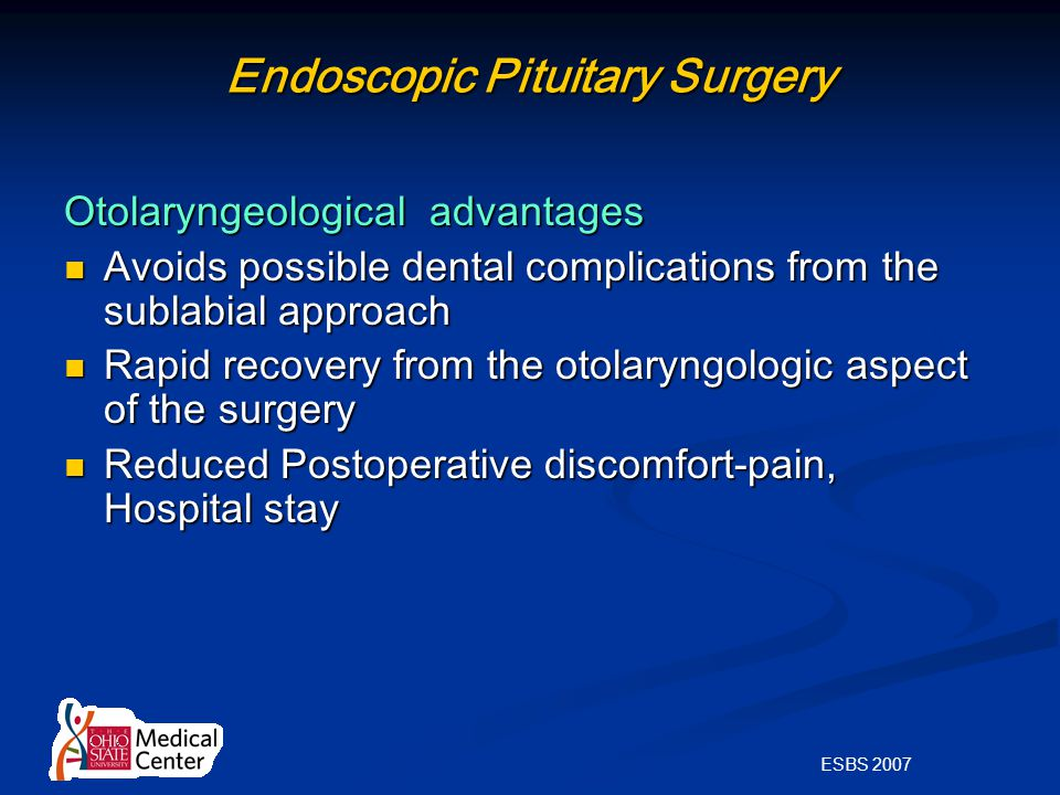 ESBS 2007 Endoscopic Pituitary Surgery Otolaryngeological advantages Avoids possible dental complications from the sublabial approach Avoids possible dental complications from the sublabial approach Rapid recovery from the otolaryngologic aspect of the surgery Rapid recovery from the otolaryngologic aspect of the surgery Reduced Postoperative discomfort-pain, Hospital stay Reduced Postoperative discomfort-pain, Hospital stay