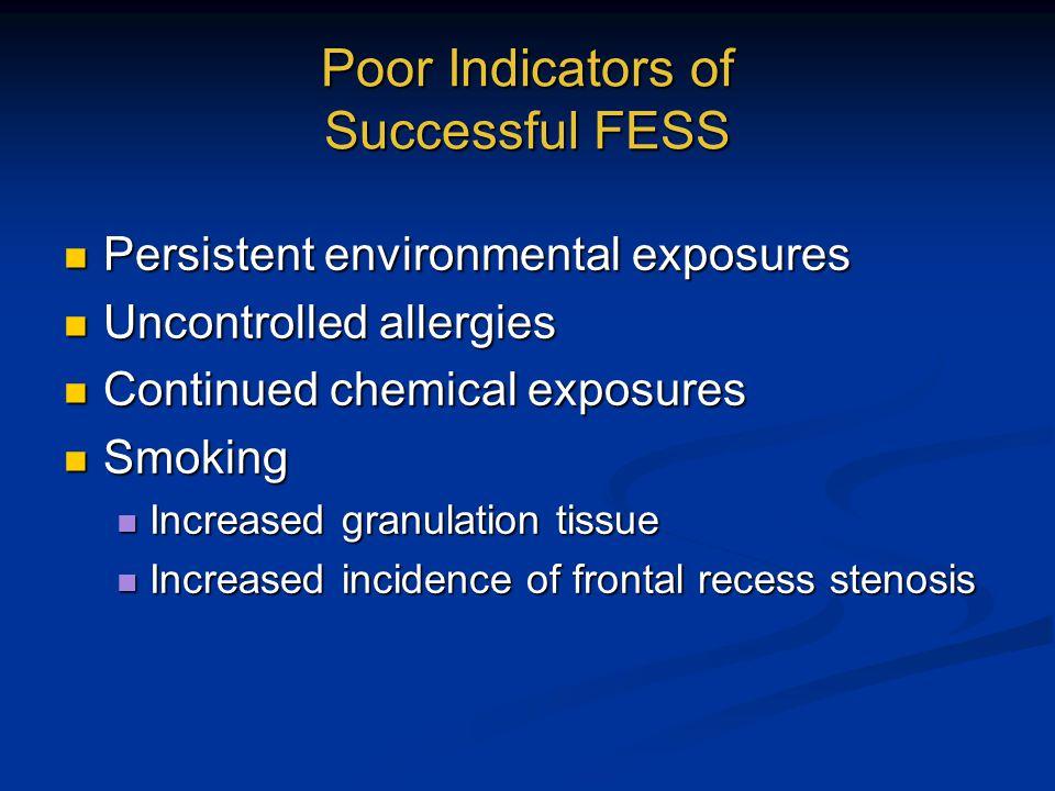 Poor Indicators of Successful FESS Persistent environmental exposures Persistent environmental exposures Uncontrolled allergies Uncontrolled allergies