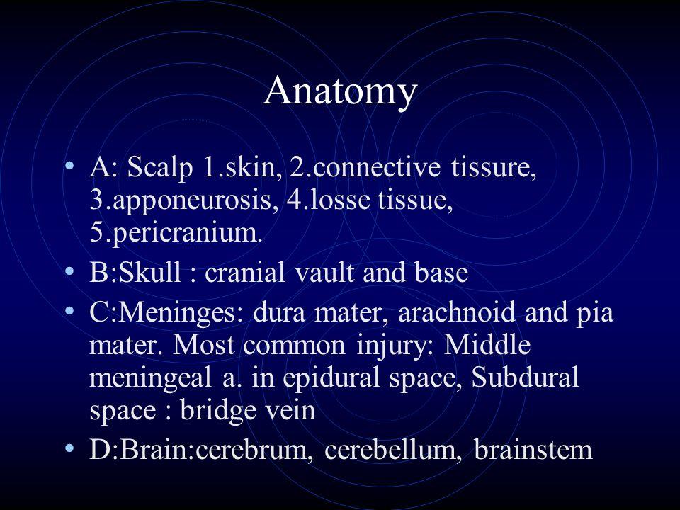 Anatomy A: Scalp 1.skin, 2.connective tissure, 3.apponeurosis, 4.losse tissue, 5.pericranium. B:Skull : cranial vault and base C:Meninges: dura mater,