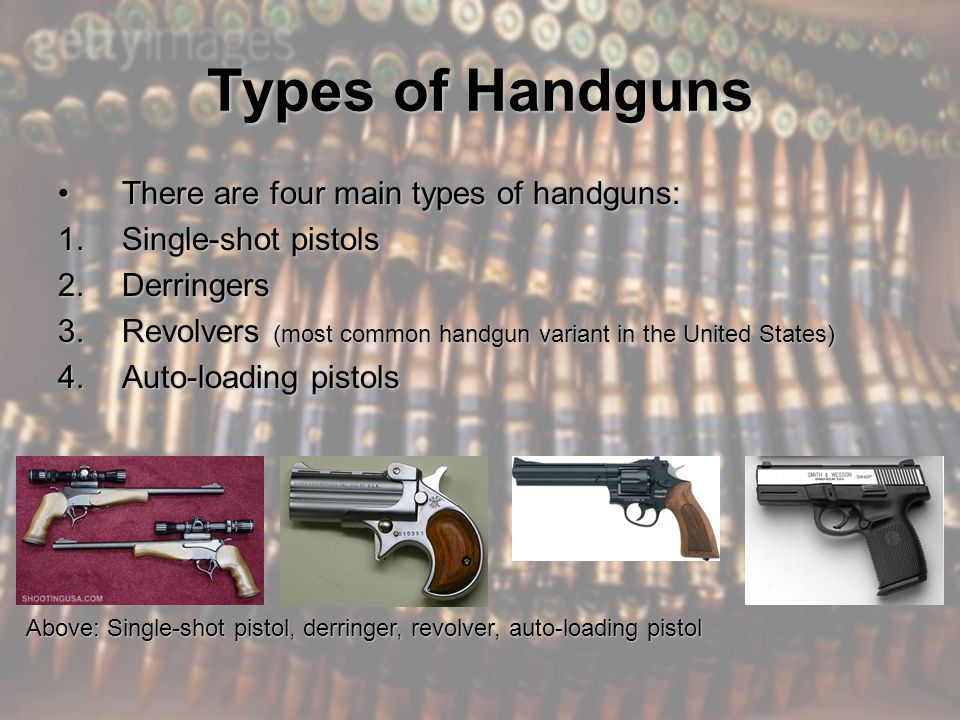 Handgun Ammunition Common types are round nose and hollow-point, but other types include semi-wadcutter and wadcutter (designed for target use).Common types are round nose and hollow-point, but other types include semi-wadcutter and wadcutter (designed for target use).