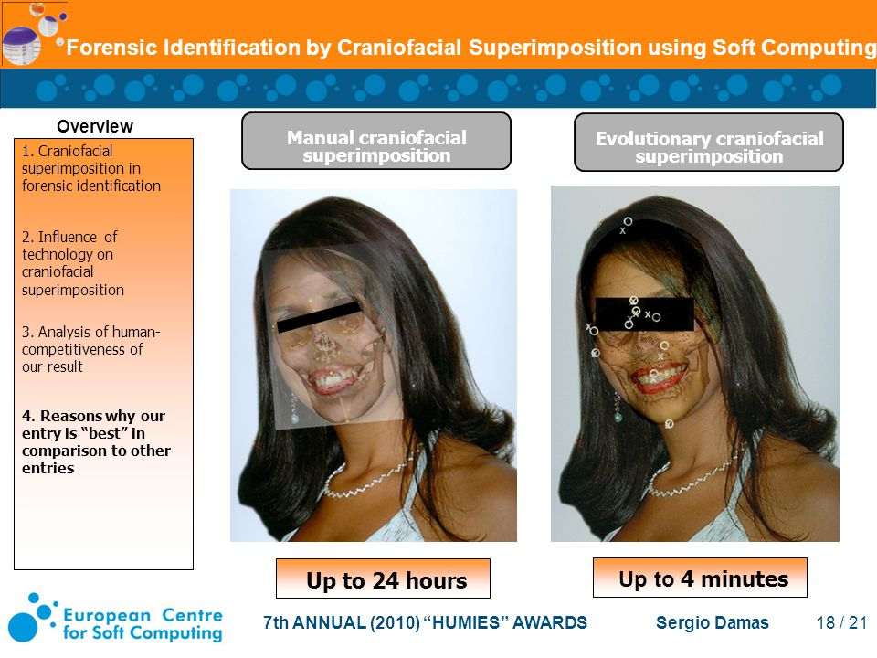 7th ANNUAL (2010) HUMIES AWARDS Sergio Damas 18 / 21 Forensic Identification by Craniofacial Superimposition using Soft Computing Evolutionary craniofacial superimposition Manual craniofacial superimposition Up to 24 hours Up to 4 minutes Overview 1.