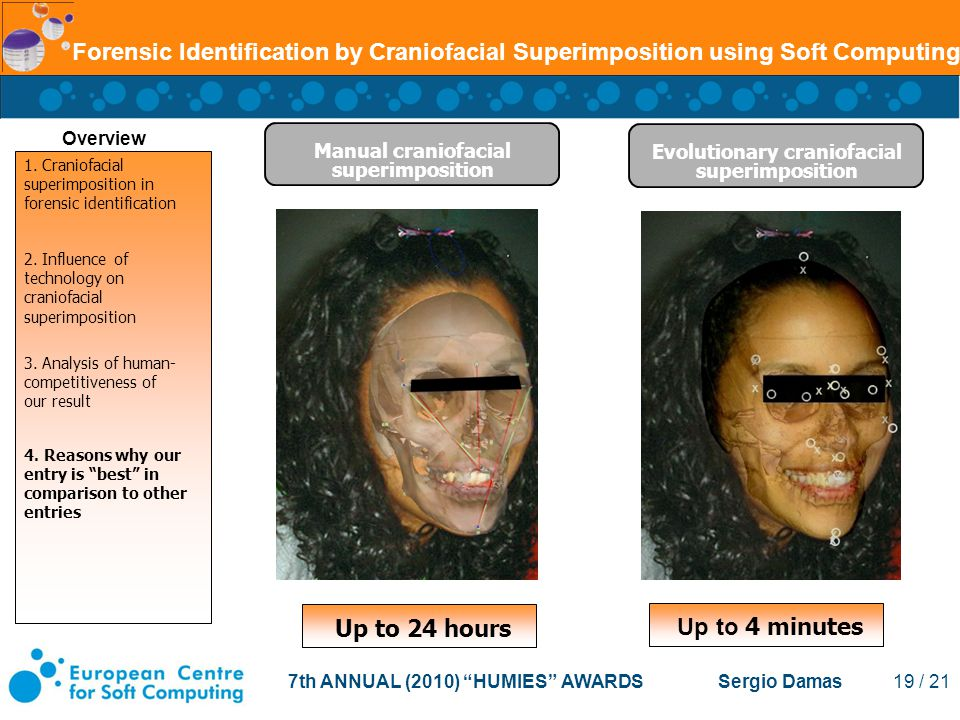7th ANNUAL (2010) HUMIES AWARDS Sergio Damas 19 / 21 Forensic Identification by Craniofacial Superimposition using Soft Computing Evolutionary craniofacial superimposition Manual craniofacial superimposition Overview Up to 24 hours Up to 4 minutes 1.
