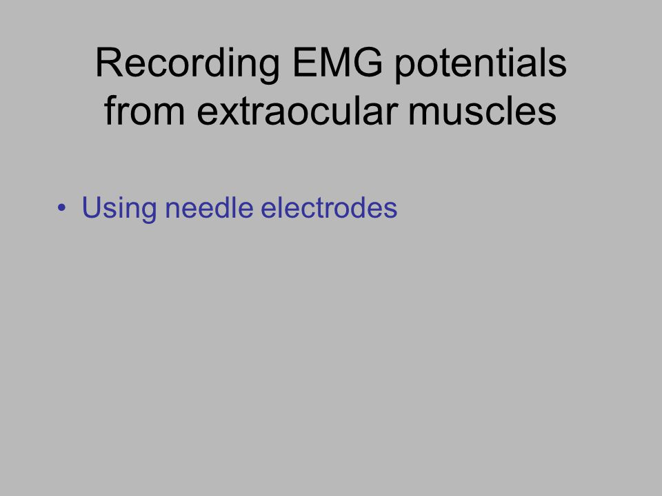 Recording EMG potentials from extraocular muscles Using needle electrodes