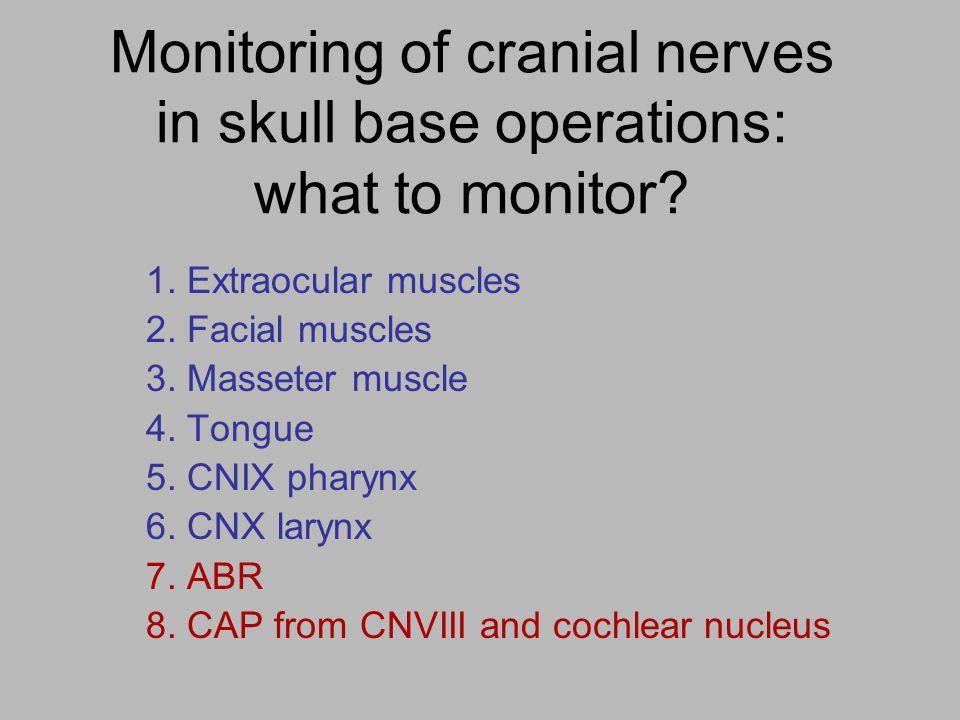Monitoring other cranial motor nerves Extraocular muscles CN III CN IV CN VI Lower cranial nerves CN IX CN X CN XI CN XII