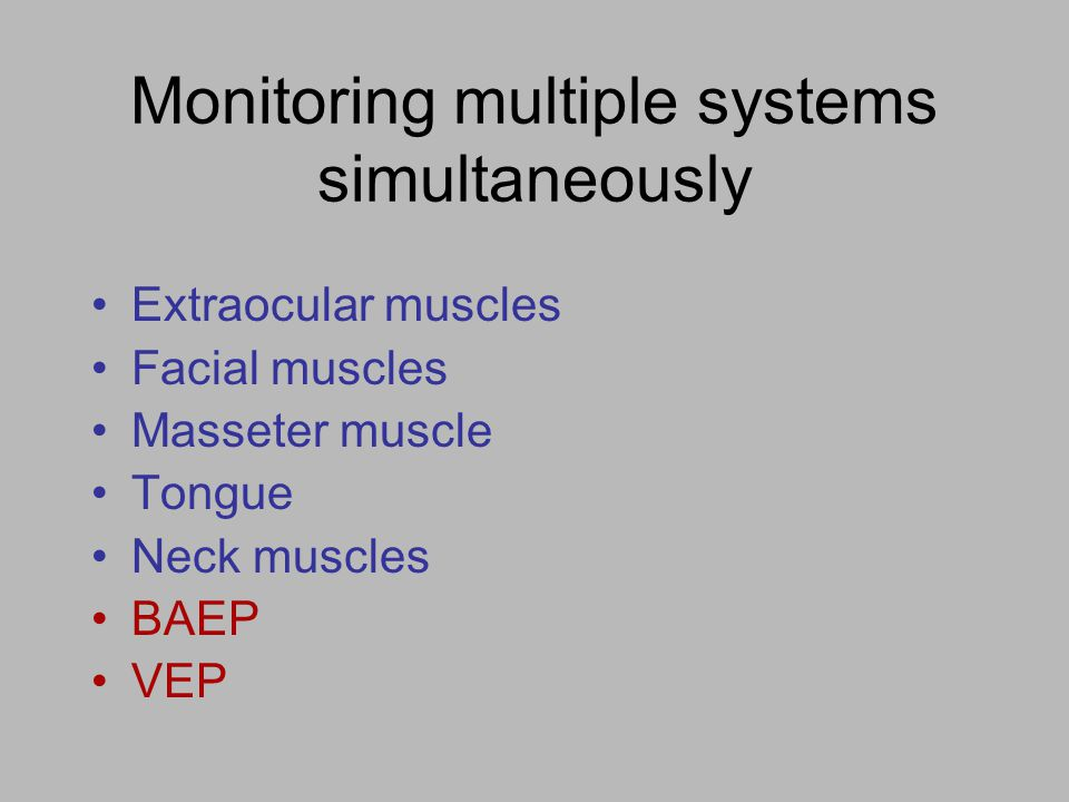 Monitoring multiple systems simultaneously Extraocular muscles Facial muscles Masseter muscle Tongue Neck muscles BAEP VEP