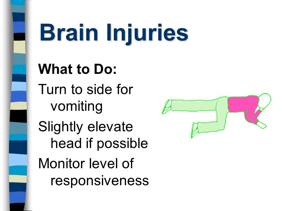 Brain Injuries What to Do: Turn to side for vomiting Slightly elevate head if possible Monitor level of responsiveness