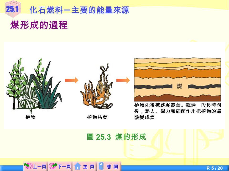 P. 4 / 20 25.1化石燃料 ─ 主要的能量來源  植物枯萎後,形成一層層厚厚的物質。 煤形成的過程