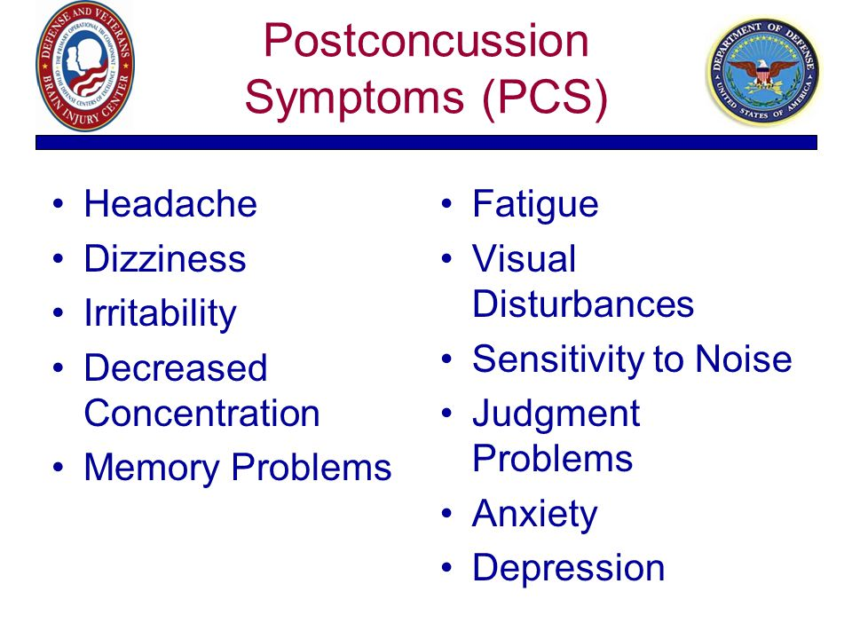 Postconcussion Symptoms (PCS) Headache Dizziness Irritability Decreased Concentration Memory Problems Fatigue Visual Disturbances Sensitivity to Noise