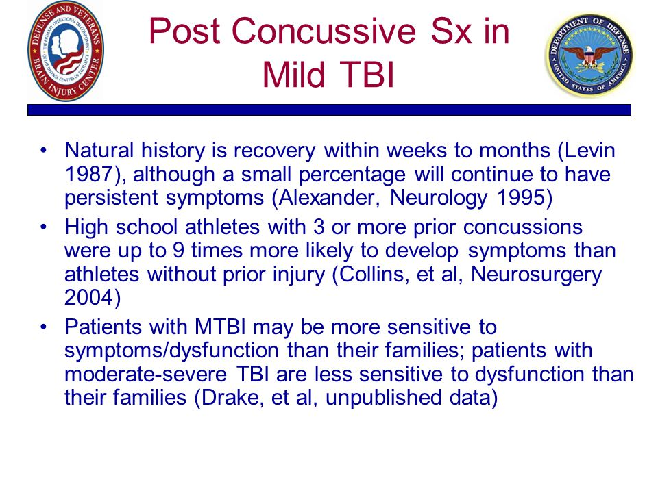 Post Concussive Sx in Mild TBI Natural history is recovery within weeks to months (Levin 1987), although a small percentage will continue to have pers