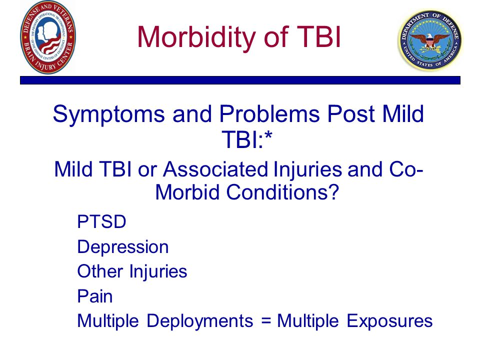 Morbidity of TBI Symptoms and Problems Post Mild TBI:* Mild TBI or Associated Injuries and Co- Morbid Conditions? PTSD Depression Other Injuries Pain