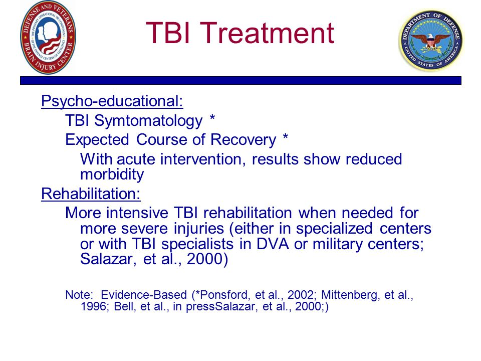 TBI Treatment Psycho-educational: TBI Symtomatology * Expected Course of Recovery * With acute intervention, results show reduced morbidity Rehabilita