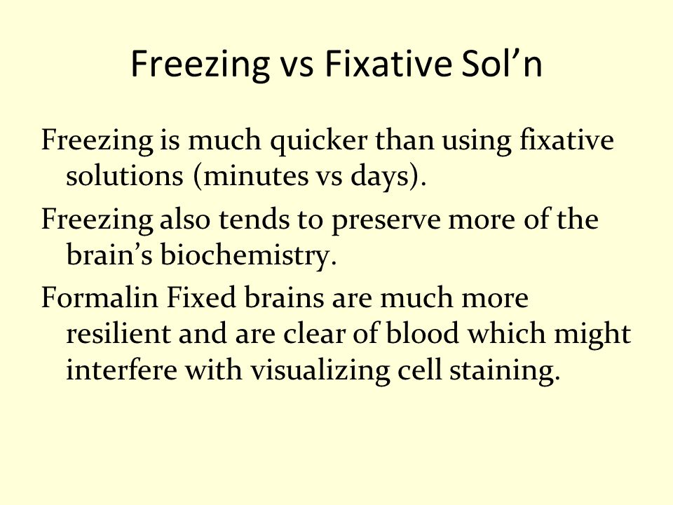 Freezing vs Fixative Sol'n Freezing is much quicker than using fixative solutions (minutes vs days). Freezing also tends to preserve more of the brain