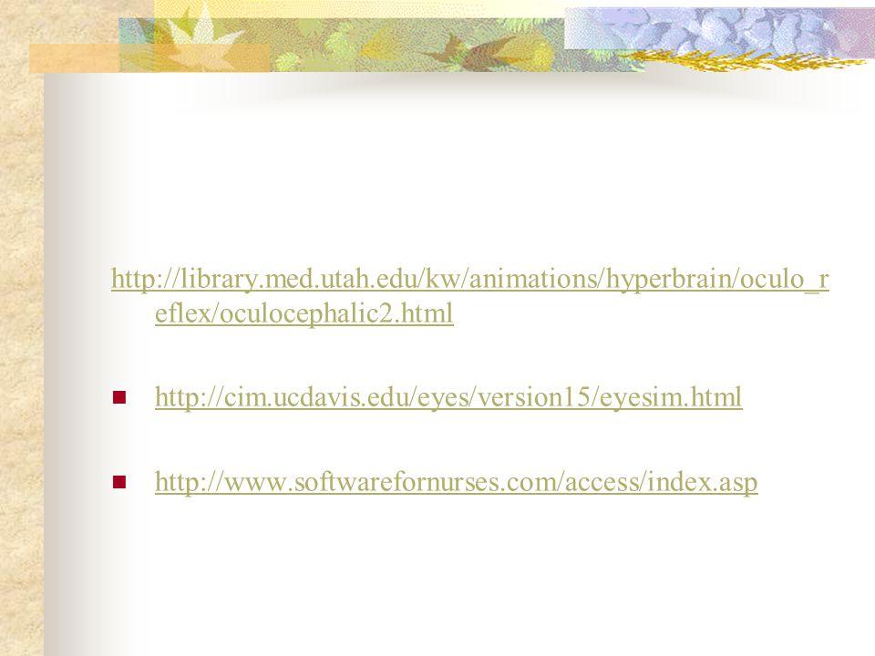 http://library.med.utah.edu/kw/animations/hyperbrain/oculo_r eflex/oculocephalic2.html http://cim.ucdavis.edu/eyes/version15/eyesim.html http://www.so