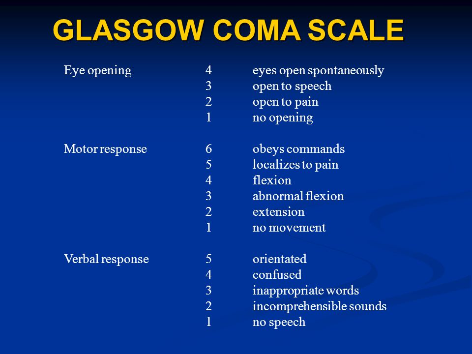 GLASGOW COMA SCALE Eye opening4eyes open spontaneously 3open to speech 2open to pain 1no opening Motor response6obeys commands 5localizes to pain 4flexion 3abnormal flexion 2extension 1no movement Verbal response5orientated 4confused 3inappropriate words 2incomprehensible sounds 1no speech