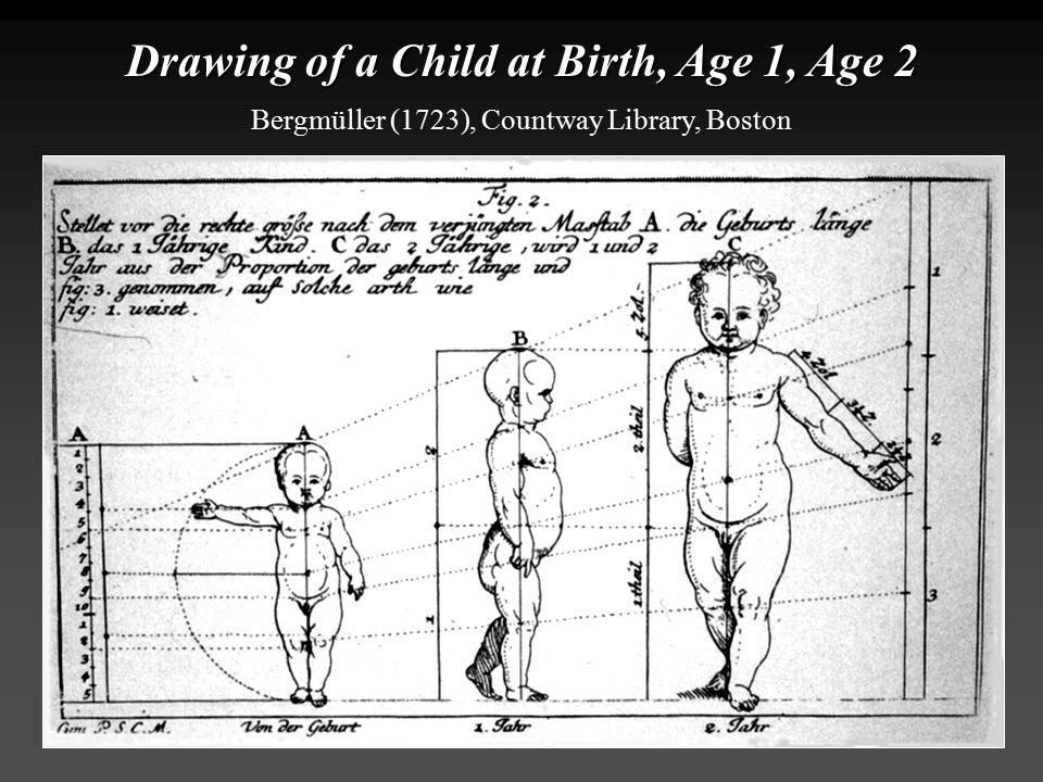 Drawing of a Child at Birth, Age 1, Age 2 Bergmüller (1723), Countway Library, Boston