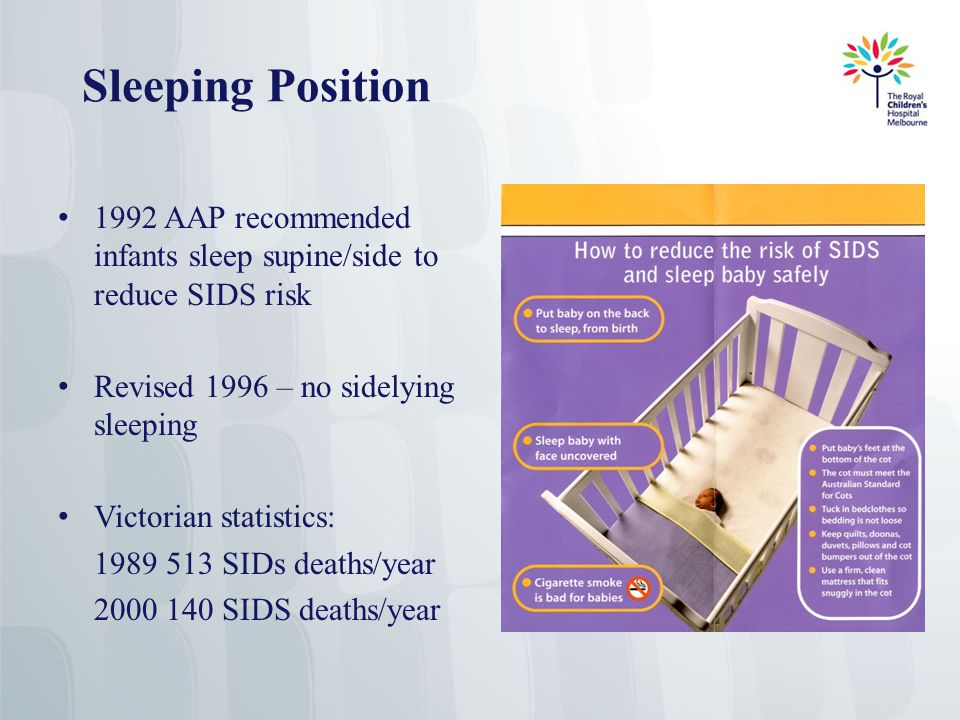 Sleeping Position 1992 AAP recommended infants sleep supine/side to reduce SIDS risk Revised 1996 – no sidelying sleeping Victorian statistics: 1989 513 SIDs deaths/year 2000 140 SIDS deaths/year