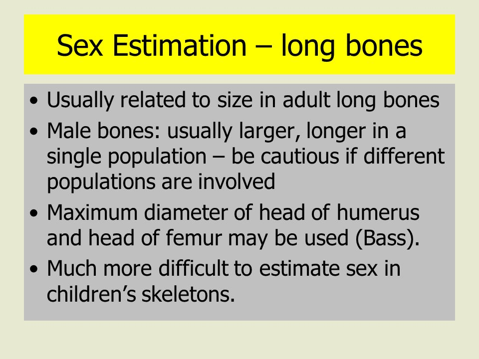 Sex Estimation – long bones Usually related to size in adult long bones Male bones: usually larger, longer in a single population – be cautious if different populations are involved Maximum diameter of head of humerus and head of femur may be used (Bass).